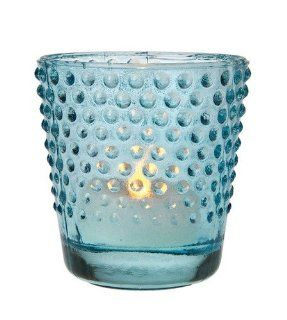 Turquoise Blue Vintage Glass Candle Holder (hobnail design)   Tea Light Holders