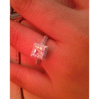 Solid 14k White Gold Princess Cut CZ Cubic Zirconia Channel Engagement Ring 1.5 ct Jewelry