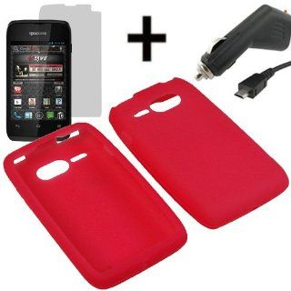 AM Silicone Sleeve Gel Cover Skin Case for Virgin Mobile Kyocera Event C5133 + LCD + Car Charger Red Cell Phones & Accessories