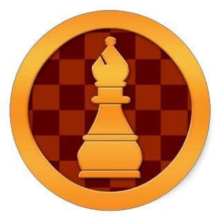 Gold Bishop Chess Piece Round Sticker