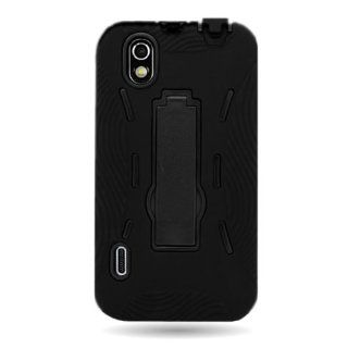 CoverON� HYBRID Dual Soft BLACK Silicone Skin Cover and Heavy Duty Hard BLACK Case w/ Kickstand for LG LS855 MARQUEE OPTIMUS BLACK / P970 IGNITE With PRY Triangle Case Removal Tool [WCJ509] Cell Phones & Accessories