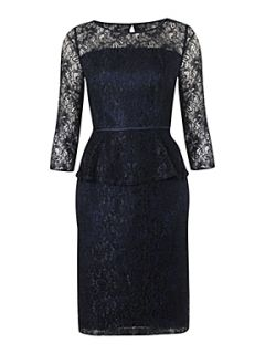 Adrianna Papell Lace peplum dress Navy