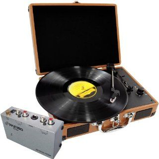 Pyle Turntable Record Player and Pre Amplifier Package   PVTT2U Retro Belt Drive Turntable With USB to PC Connection, Rechargeable Battery   PP444 Ultra Compact Phono Turntable Pre Amplifier Electronics