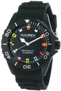Haurex Italy Men's 1K374UNF Ink Black Rubber Band Flag Like Indices Aluminum Watch Haurex Italy Watches