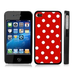Red and White Polka Dot Snap On iPhone Cover Black Carrying Hard Plastic Case for iPhone 4/4S Cell Phones & Accessories