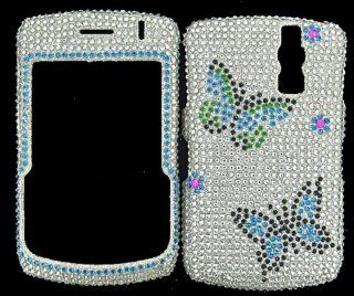FULL DIAMOND CRYSTAL STONES COVER CASE FOR BLACKBERRY CURVE 8300 8320 8330 BUTTERFLIES Cell Phones & Accessories