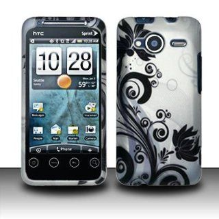 Rubberized Silver Black Vine Flower Snap on Design Case Hard Case Skin Cover Faceplate for Htc Evo Shift 4g Cell Phones & Accessories