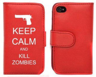 Red Apple iPhone 5 5S 5LP384 Leather Wallet Case Cover Keep Calm and Kill Zombies Gun Cell Phones & Accessories