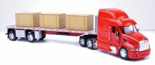 New Ray 132 Scale Die Cast Peterbilt 387 Flatbed Truck With Crates   New Ray 13983 Toys & Games