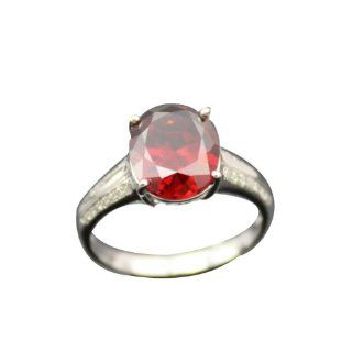 Jade Angel Fashion Jewelry 925 Silver Oval Cut Created Garnet And Clear Cubic Zircon Ring Color Red Jewelry