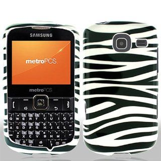 Black White Zebra Stripe Hard Cover Case for Samsung Comment 2 Freeform 4 SCH R390 Cell Phones & Accessories