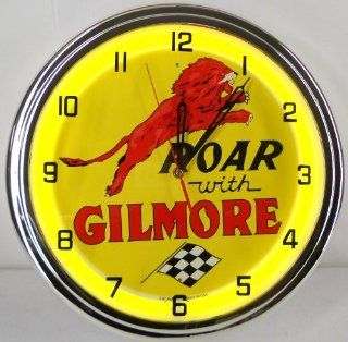 "ROAR WITH GILMORE 15"" NEON LIGHTED WALL CLOCK GASOLINE GAS FUEL PUMP OIL TANKER SIGN YELLOW"