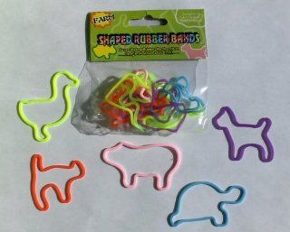 Set of 24 Silly Farm Animal Shaped Rubber Bands or Elastic Bandz  Assorted Designs Toys & Games