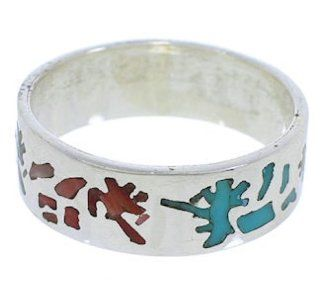 Multicolor Sterling Silver Kokopelli Ring Band Size 8 1/4 UX32659 SilverTribe Jewelry