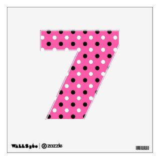 Pink Black White Polka Dots Wall Decal   Number 7 Room Decal
