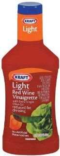 Kraft Light Red Wine Vinaigrette with Vegetable Oil Reduced Fat Dressing, 16 Ounce Plastic Bottles (Pack of 6)  Grocery & Gourmet Food