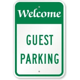 "SmartSign Aluminum Sign, Legend ""Welcome Guest Parking"", 24"" high x 18"" wide, Green on White Yard Signs"