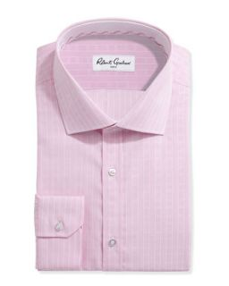 Long Sleeve Neat Poplin Dress Shirt, Pink