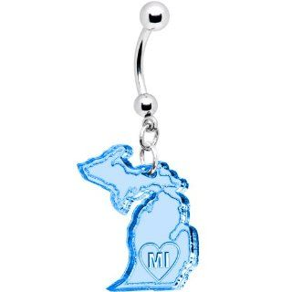 Light Blue State of Michigan Belly Ring Jewelry