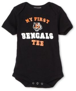 "NFL Infant/Toddler Boys' Cincinnati Bengals ""My First Tee"" Onesie (Black, 12 Months)  Sports Fan T Shirts  Clothing"