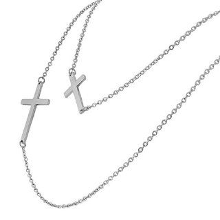 Stainless Steel Silver White Gold Tone Long Double Chain Two Womens Horizontal Cross Pendant Necklace Long Pendant Necklaces For Women Jewelry