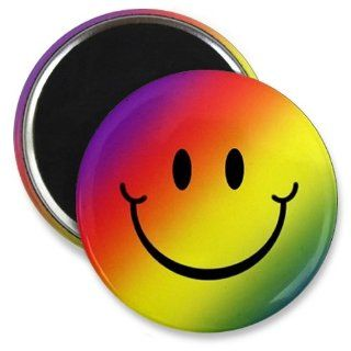 Rainbow SMILEY FACE Funny 2.25 inch Fridge Magnet  Refrigerator Magnets