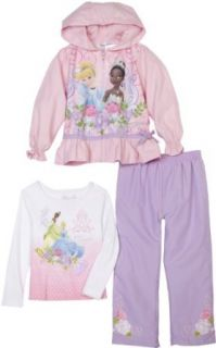 Disney Princess Girls 2 6X Princess 3 Piece Pant Set, Pink, 4 Clothing