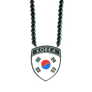 Korea Flag Wooden Pendant with Wood Bead Necklace SwaggWood Made in USA Jewelry