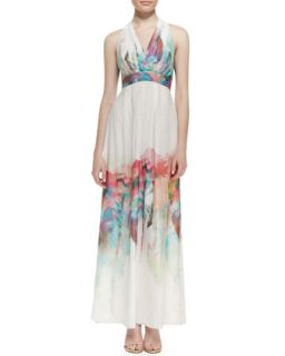 Womens Silk Watercolor Floral Print Halter Gown   Nicole Miller