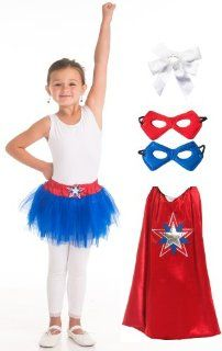 Little Adventures Girl American Hero Cape, Tutu, Mask Costume Age 3 8 with Hairbow Toys & Games