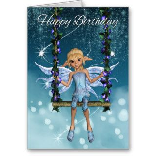 Happy Birthday cute fairy on flower swing, blues Greeting Cards