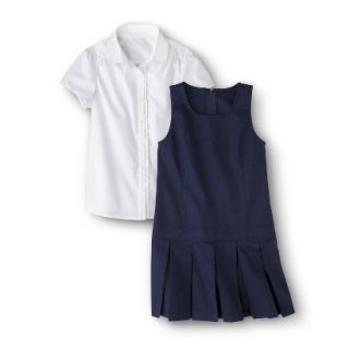 Cherokee Girls School Uniform Short Sleeve Blouse and Jumper Set   Navy 14