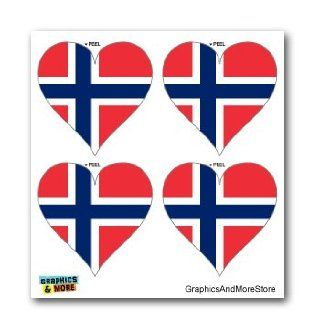 Norway Norwegian Flag Heart   Set of 4   Window Bumper Laptop Stickers Automotive