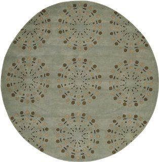 Surya Bombay BST 428 Contemporary Hand Tufted 100% New Zealand Wool Foggy Blue 8' Round Geometric Area Rug   Area Rugs