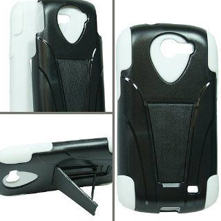 White Hard Soft Gel Dual Layer Stand Cover Case for Samsung Galaxy Express SGH I437 Cell Phones & Accessories