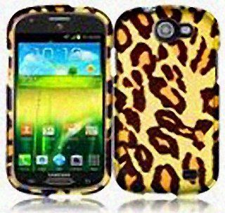 Yellow Brown Leopard Hard Cover Case for Samsung Galaxy Express SGH I437 Cell Phones & Accessories