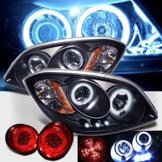 Rxmotoring 2005 2007 Chevy Cobalt Projector Ccfl Halo Headlights + Led Tail Light Automotive