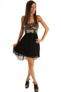 DHStyles Women's Sexy Camo Chiffon High Low Dress Large   Black, Green