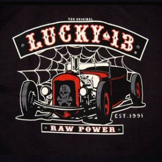 Lucky 13 Raw Power T Shirt Rat Rod Tattoo Punk NEW, X Large Clothing