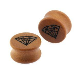 Pair of 0G Double Flared Carved Organic Diamond Design Sawo Wood Ear Plugs Gauges Jewelry