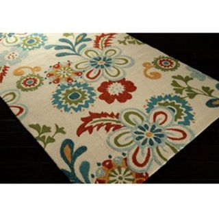 "Surya Storm SOM 7706 Contemporary Hand Hooked 100% Polypropylene Putty 3'3"" x 5'3"" Floral Area Rug   Machine Made Rugs"