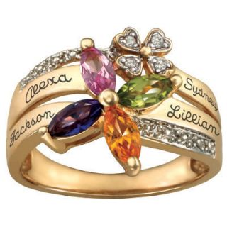 10K Gold Plated Sterling Silver Family Birthstone Flower Ring with CZ