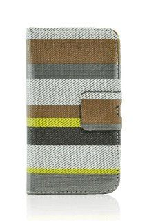 LiViTech(TM) Multi Color Striped Design Credit Card Wallet ID Holder for Apple iPhone 4 4S (Brown Gray) Cell Phones & Accessories