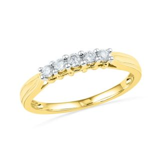 online only 1 4 ct t w diamond five stone wedding band in 10k gold