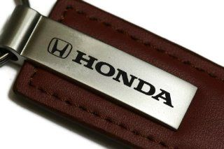 Honda Brown Leather Key Fob Authentic Logo Key Chain Key Ring Keychain Lanyard Automotive