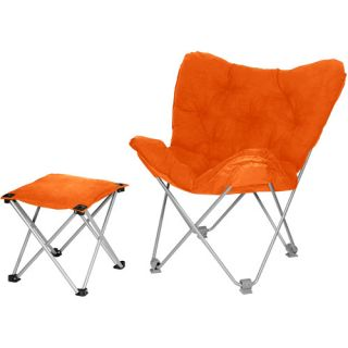 Rock Your Room Butterfly Chair with Ottoman, Competitive Orange Kids & Teen Rooms
