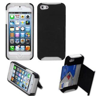 Apple iPhone 5 Hard Plastic Snap on Cover Black/Solid White Fusion Rubberized (Card Wallet/with Stand) AT&T, Cricket, Sprint, Verizon Plus A Free LCD Screen Protector (does NOT fit Apple iPhone or iPhone 3G/3GS or iPhone 4/4S) Cell Phones & Access