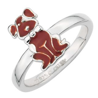 Stackable Expressions™ Polished Brown Enameled Dog Ring in Sterling