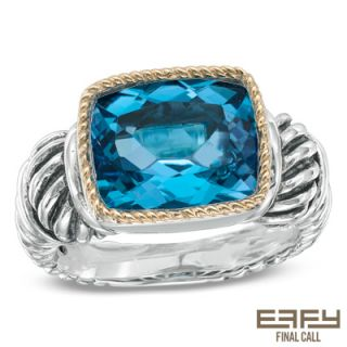 EFFY™ Final Call Rectangular Blue Topaz Ring in Sterling Silver and