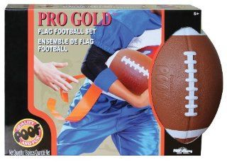 POOF Slinky 456BL POOF Pro Gold Flag Football Set with 16 Flags and 9.5 Inch Foam Ball, Brown Toys & Games